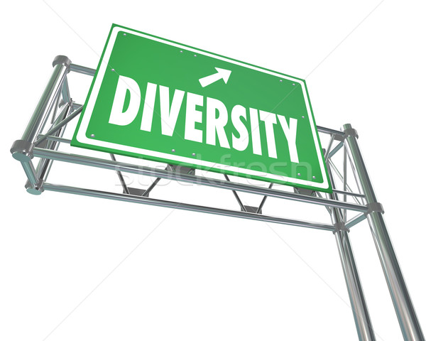 Diversity Freeway Green Exit Sign Route to Peace Harmony Accepta Stock photo © iqoncept