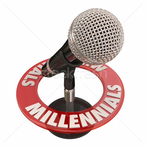 Millennials Word Microphone Voices Talking Interview Podcast Rad Stock photo © iqoncept