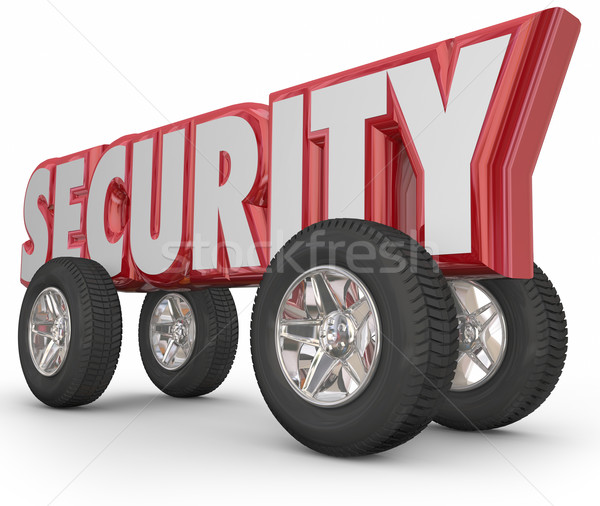 Security Word Car Tires Wheels Red 3d Safe Driving Secure Crime  Stock photo © iqoncept