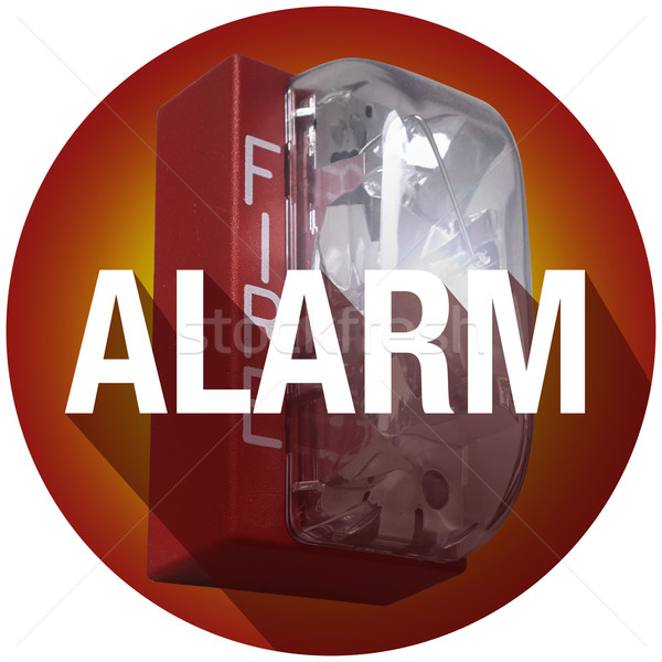 Fire Alarm Word Long Shadow Emergency Crisis Evacuation Circle Stock photo © iqoncept