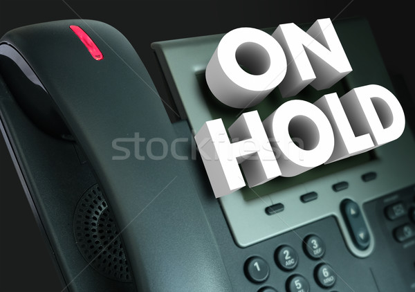 On Hold Telephone Waiting Help Assistance 3d Words Stock photo © iqoncept