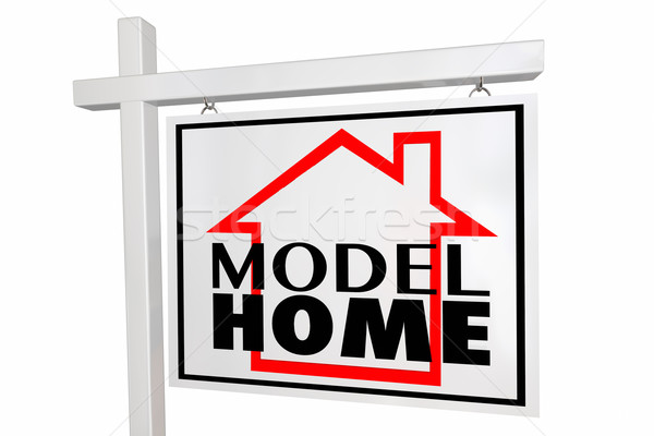 Model Home Property New Construction Demo Real Estate House Sign Stock photo © iqoncept