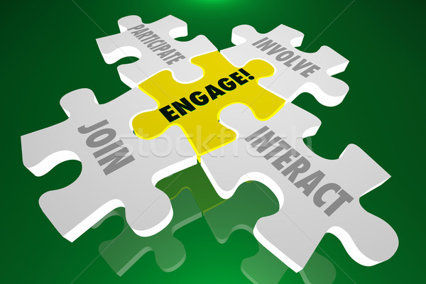 Engage Join Participate Involve Interact Puzzle Pieces 3d Illust Stock photo © iqoncept