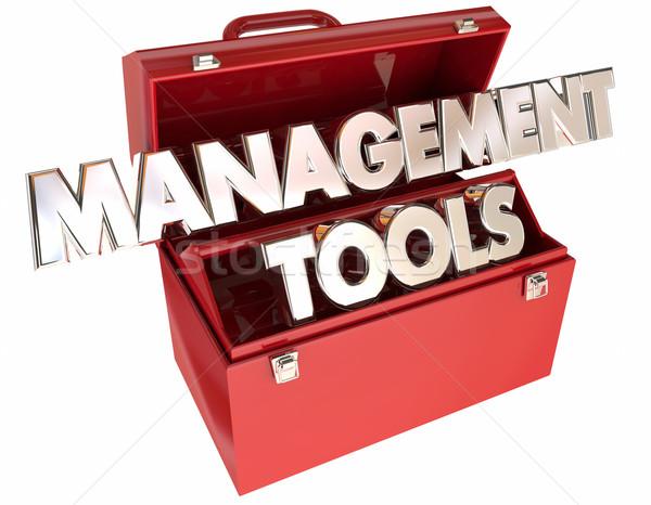 Gestión herramientas 3D palabras caja de herramientas líder Foto stock © iqoncept