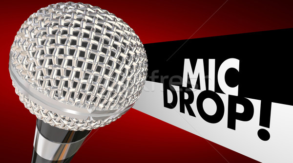 Mic Drop Microphone Falling Final Words Animation 3d Illustratio Stock photo © iqoncept