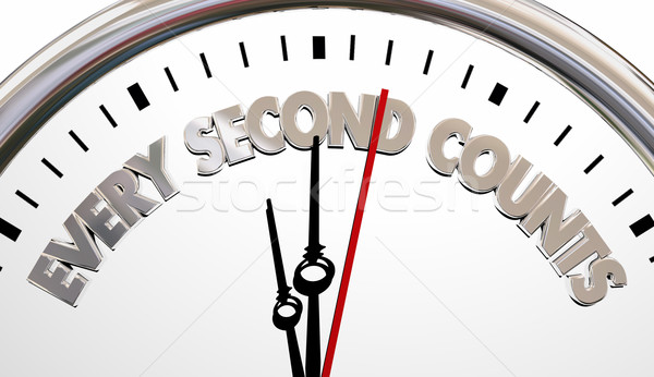 Every Second Counts Clock Precious Time Saying 3d Illustration Stock photo © iqoncept