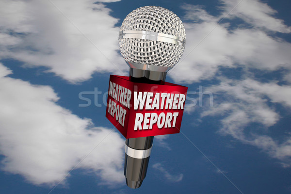Weather Report Microphone Cloudy Sky Update News 3d Illustration Stock photo © iqoncept