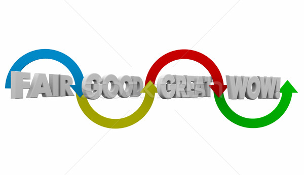 Fair Good Great Wow Arrows Grading Evaluation 3d Illustration Stock photo © iqoncept