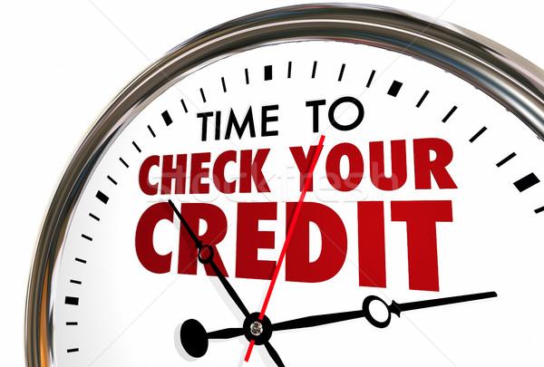 Czasu sprawdzić kredytowej wynik sprawozdanie zegar Zdjęcia stock © iqoncept