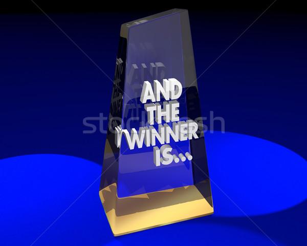Ganador adjudicación trofeo premio 3d equipo Foto stock © iqoncept