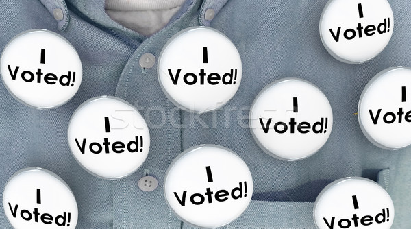 I Voted Buttons Pins Shirt Election Voter Politics Democracy 3d  Stock photo © iqoncept
