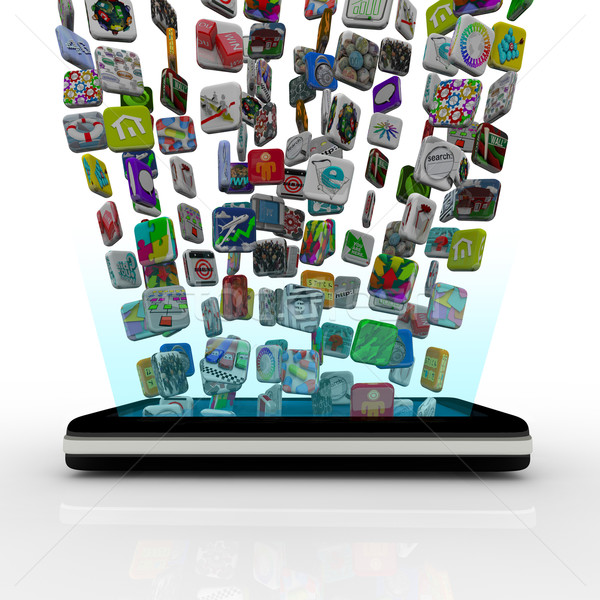 App iconen downloaden veel toepassing Stockfoto © iqoncept