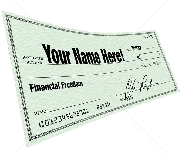 Név itt pénzügyi szabadság csekk vonal Stock fotó © iqoncept