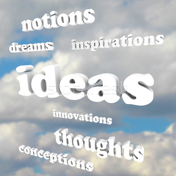 Ideas Words in Sky Dreams of Creativity and Innovation  Stock photo © iqoncept