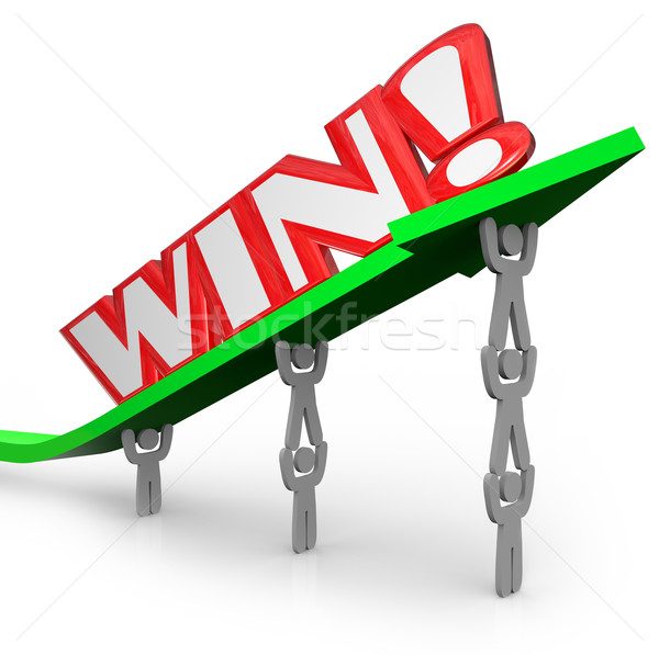 Win Word on Arrow Teamwork Lifting for Success Stock photo © iqoncept
