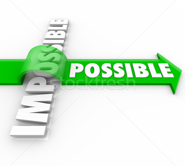Possible Arrow Jumping Over Impossible Positive Attitude Stock photo © iqoncept