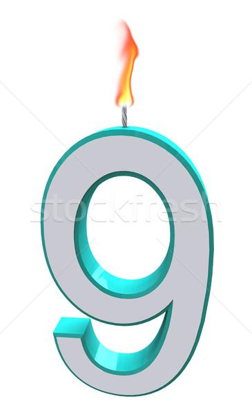 Number Nine Candle Stock photo © iqoncept