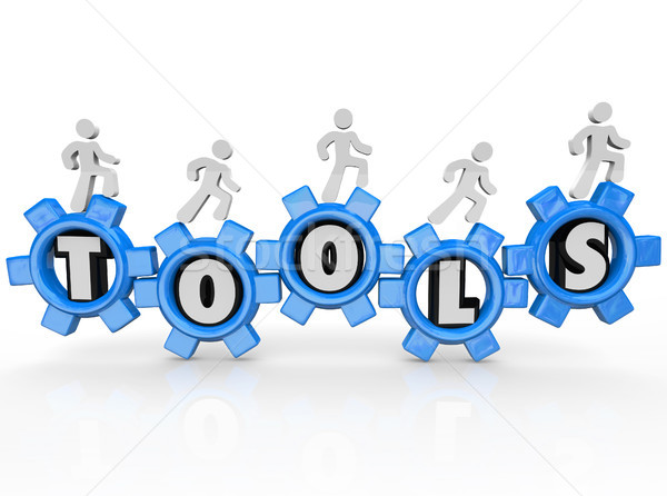 Stock photo: Tools Word Gears Cogs Men Turning Machine