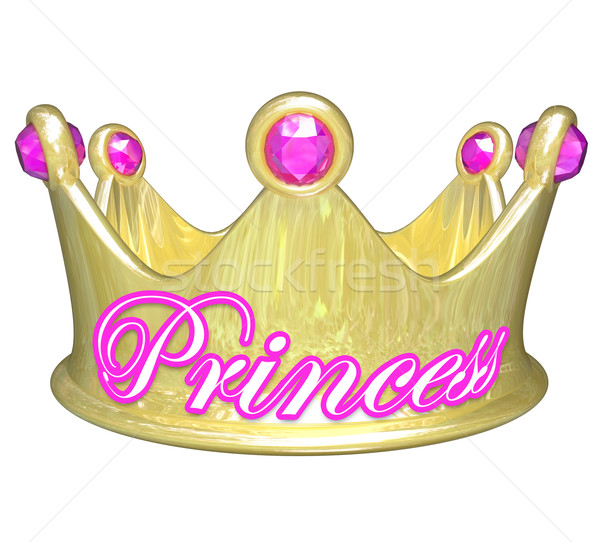 Princess Gold Crown Royalty Pretty Spoiled Girl Woman Stock photo © iqoncept
