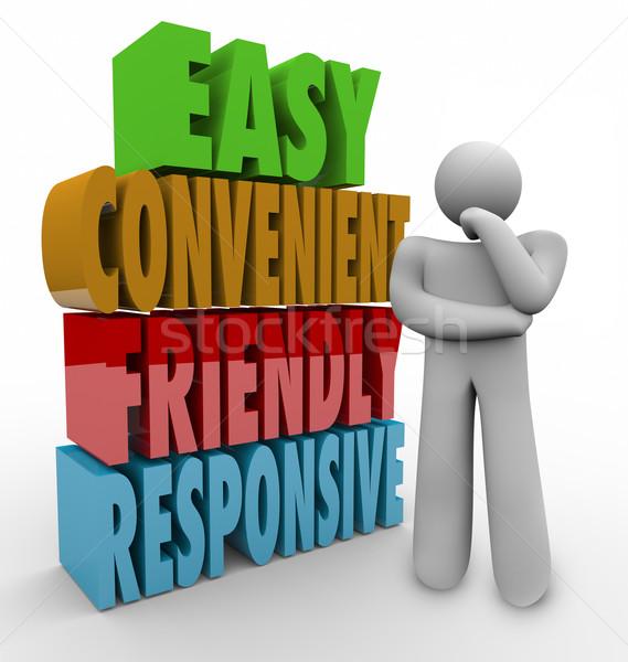Easy Convenient Friendly Responsive Thinker 3d Words Stock photo © iqoncept
