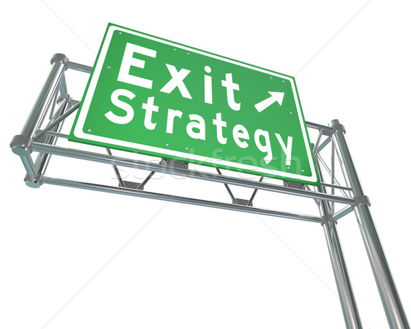 Exit Strategy Direction Green Freeway Road Sign Way Out Plan Stock photo © iqoncept