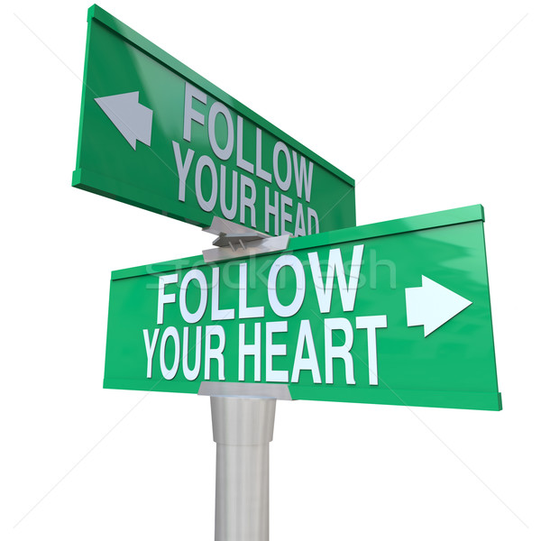 Follow Your Heart - Two-Way Street Sign Stock photo © iqoncept