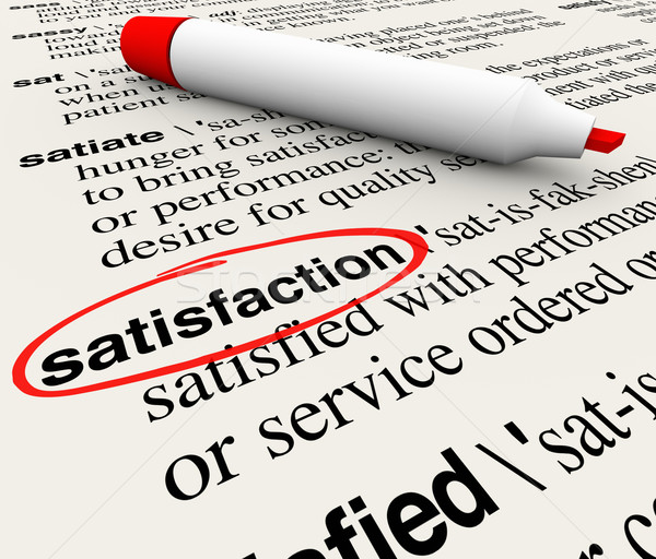 Satisfaction Dictionary Definition Circled Marker Happiness Plea Stock photo © iqoncept