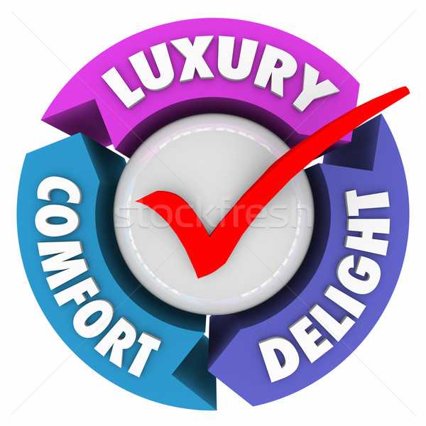 Luxury Comfort Delight Three Arrows Check Mark Lush Fancy Produc Stock photo © iqoncept