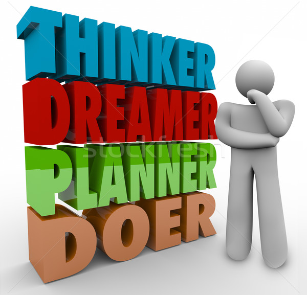 Thinker Dreamer Planner Doer Thinking Person Creativity Imaginat Stock photo © iqoncept
