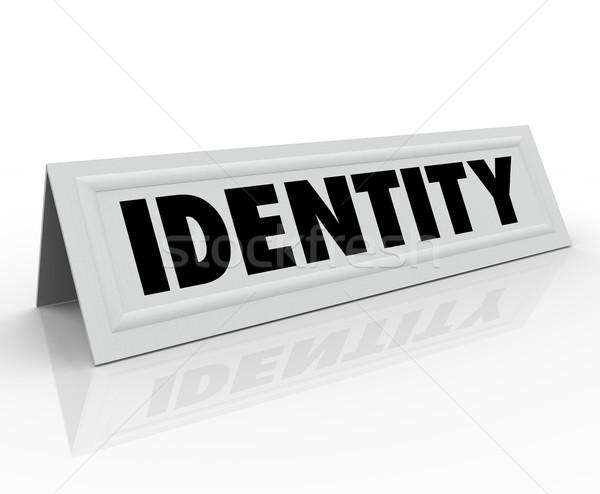 Kimlik kişisel karakter ad çadır kart Stok fotoğraf © iqoncept