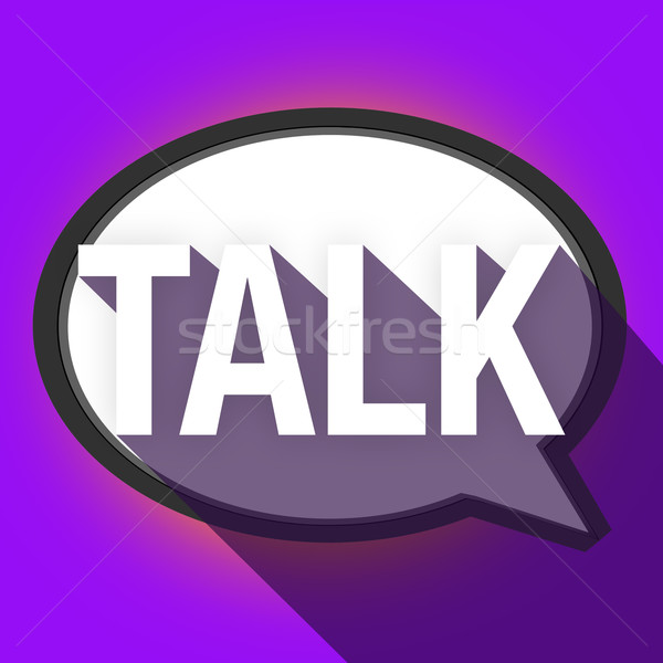 Talk Word Long Shadow Speech Bubble Communication Stock photo © iqoncept