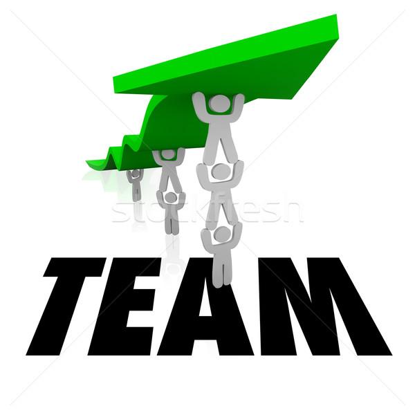 Team Wort Mitarbeiter zusammen Lift arrow Stock foto © iqoncept
