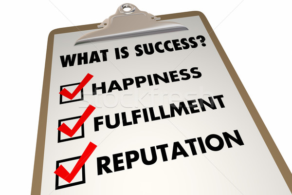 Success Checklist Happiness Fulfillment Words 3d Illustration Stock photo © iqoncept