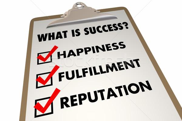 Siker lista boldogság teljesülés szavak 3d illusztráció Stock fotó © iqoncept