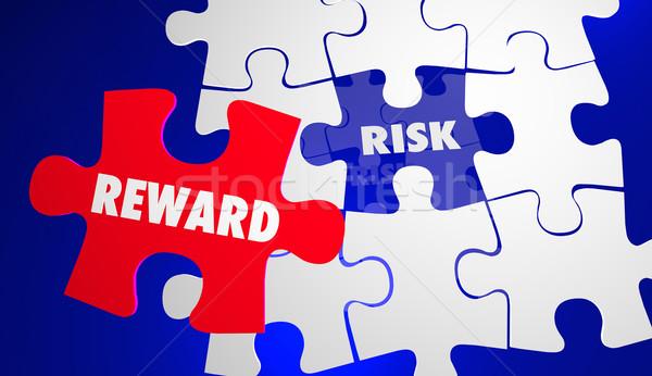 Kockázat vs jutalom roi visszatérés beruházás Stock fotó © iqoncept