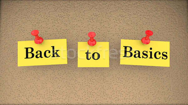 Back to Basics Saying Bulletin Board Main Principles 3d Illustra Stock photo © iqoncept