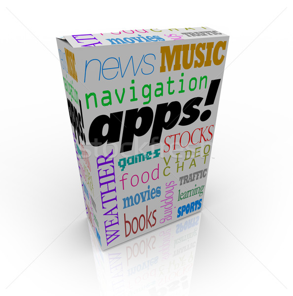 Apps Word on Cereal Box and Many Software Types Stock photo © iqoncept
