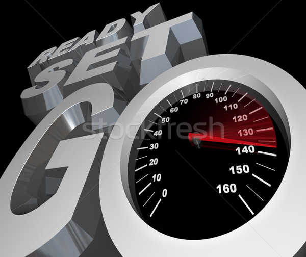 Ready Set Go Speedometer Starting Race Competition Stock photo © iqoncept