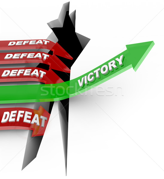 Stock photo: Victory Over Defeat One Successful Arrow Rises to Win