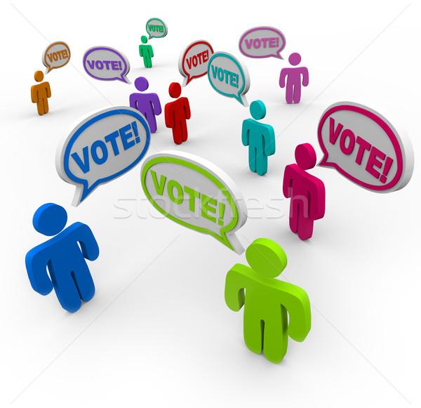Votación bocadillo personas diferente opciones palabra Foto stock © iqoncept