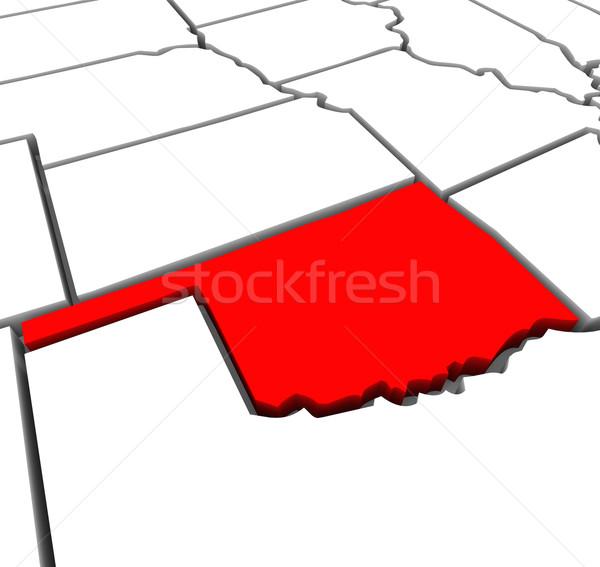 Oklahoma Rood abstract 3D kaart Verenigde Staten Stockfoto © iqoncept