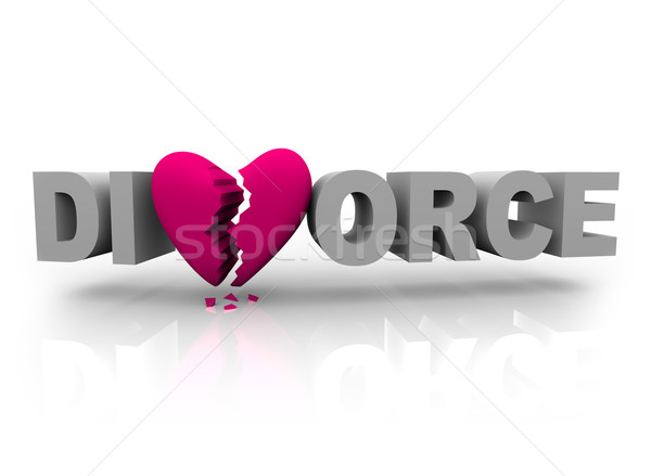 Divorce - Word with Broken Heart Stock photo © iqoncept