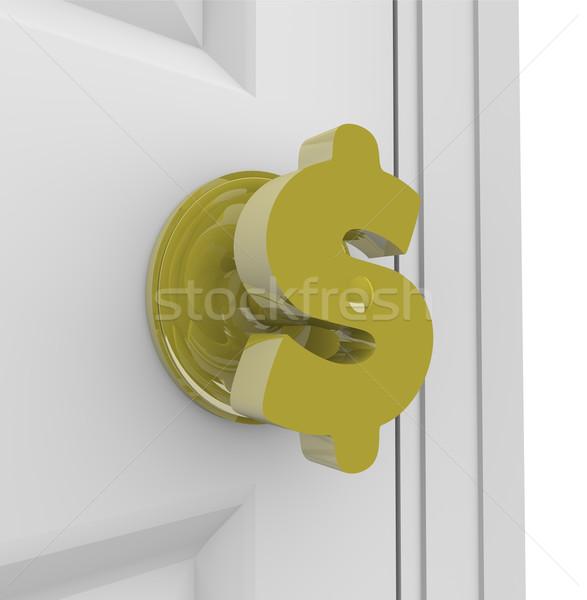 Dollárjel ajtóküszöb ajtó fogantyú forma nyitás Stock fotó © iqoncept