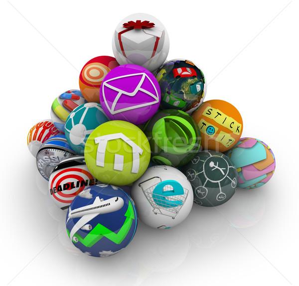 Appok szoftveres applikáció mobil piramis sok szoftver Stock fotó © iqoncept