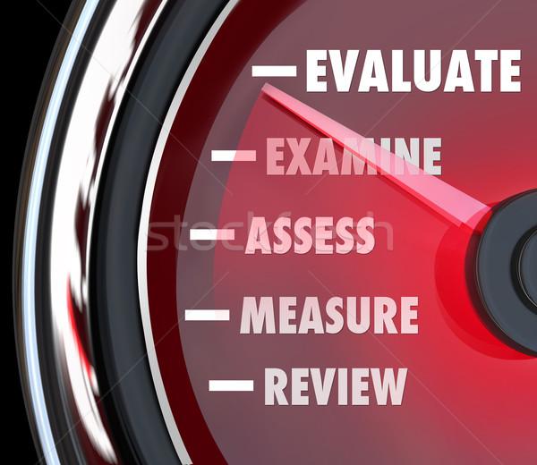 Prestaties evaluatie snelheidsmeter baan examen Stockfoto © iqoncept