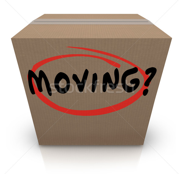 Moving Word Cardboard Box Changing Location Help Support Stock photo © iqoncept