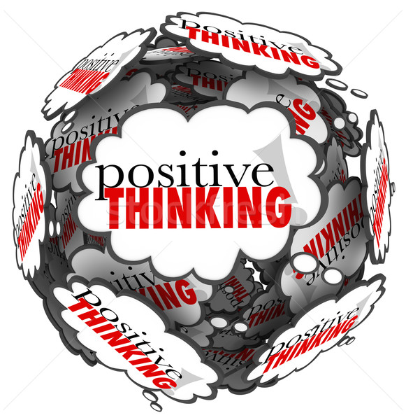 Positive Thinking Words Thought Clouds Sphere Stock photo © iqoncept