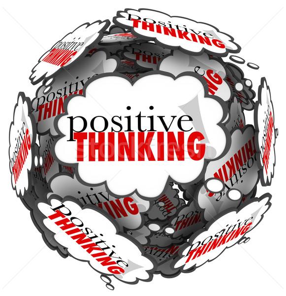 Pozitív gondolkodik szavak adatbázis felhők gömb Stock fotó © iqoncept