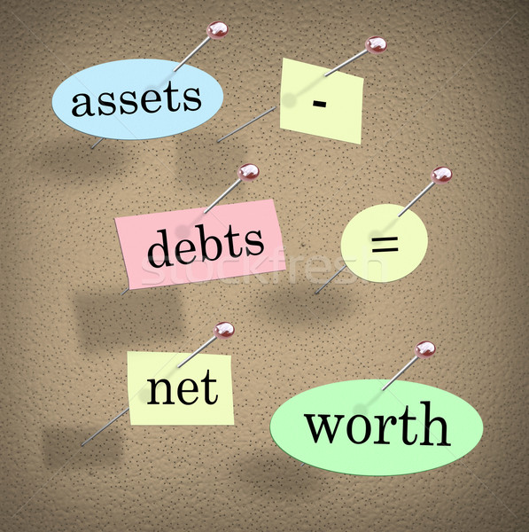 Assets Minus Debts Equals Net Worth Accounting Equation Words Stock photo © iqoncept