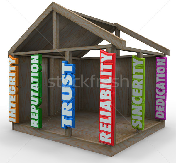 Betrouwbaarheid home frame bouwstenen sterke stichting Stockfoto © iqoncept